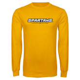 Gold Long Sleeve T Shirt-Spartans w/ G Spear