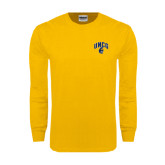 Gold Long Sleeve T Shirt-Arched UNCG w/Spartan