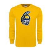 Gold Long Sleeve T Shirt-Spartan Head