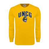 Gold Long Sleeve T Shirt-Arched UNCG w/Spartan Distressed