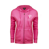 ENZA Ladies Fuchsia Fleece Full Zip Hoodie-Arched UNCG w/Spartan