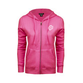 ENZA Ladies Fuchsia Fleece Full Zip Hoodie-UNCG Shield