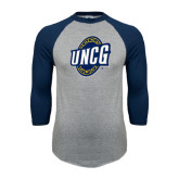 Grey/Navy Raglan Baseball T Shirt-UNCG Shield