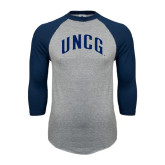 Grey/Navy Raglan Baseball T Shirt-Arched UNCG