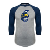 Grey/Navy Raglan Baseball T Shirt-Spartan Head