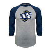 Grey/Navy Raglan Baseball T Shirt-UNCG Shield Distressed