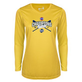 Ladies Syntrel Performance Gold Longsleeve Shirt-Baseball SoCon Champions 2017 - Crossed Sticks