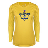 Ladies Syntrel Performance Gold Longsleeve Shirt-Baseball SoCon Champions 2017 - Diamond
