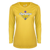 Ladies Syntrel Performance Gold Longsleeve Shirt-Baseball SoCon Champions 2017 - Banner w/ Plate