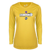 Ladies Syntrel Performance Gold Longsleeve Shirt-Baseball SoCon Champions 2017 - Ball in Motion
