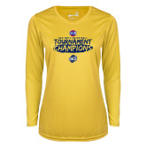 Ladies Syntrel Performance Gold Longsleeve Shirt-2018 Mens Basketball Champions - Brush