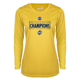 Ladies Syntrel Performance Gold Longsleeve Shirt-2018 Mens Basketball Champions - Box