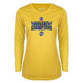 Ladies Syntrel Performance Gold Longsleeve Shirt-2018 Mens Basketball Champions - Stacked