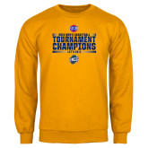 Gold Fleece Crew-2018 Mens Basketball Champions - Stacked