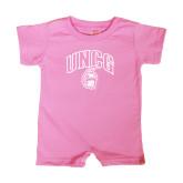Bubble Gum Pink Infant Romper-Arched UNCG w/Spartan