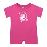Bubble Gum Pink Infant Romper-Spartan Logo
