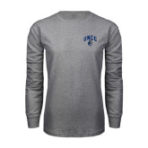 Grey Long Sleeve T Shirt-Arched UNCG w/Spartan