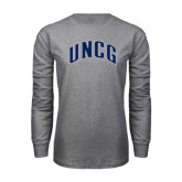 Grey Long Sleeve T Shirt-Arched UNCG