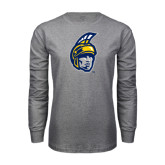 Grey Long Sleeve T Shirt-Spartan Head