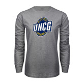 Grey Long Sleeve T Shirt-UNCG Shield Distressed