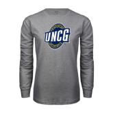 Grey Long Sleeve T Shirt-UNCG Shield Distressed