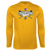 Syntrel Performance Gold Longsleeve Shirt-Baseball SoCon Champions 2017 - Crossed Sticks