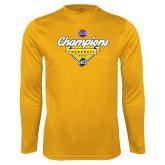 Performance Gold Longsleeve Shirt-Baseball SoCon Champions 2017 - Banner w/ Plate