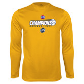 Performance Gold Longsleeve Shirt-Baseball SoCon Champions 2017 - Ball in Motion