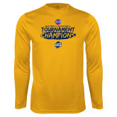 Performance Gold Longsleeve Shirt-2018 Mens Basketball Champions - Brush