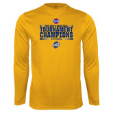 Performance Gold Longsleeve Shirt-2018 Mens Basketball Champions - Stacked
