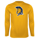 Performance Gold Longsleeve Shirt-Spartan Logo