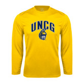 Performance Gold Longsleeve Shirt-Arched UNCG w/Spartan