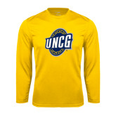 Performance Gold Longsleeve Shirt-UNCG Shield
