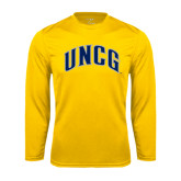 Performance Gold Longsleeve Shirt-Arched UNCG