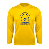 Syntrel Performance Gold Longsleeve Shirt-Stacked Basketball