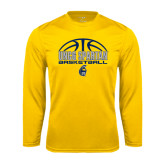 Syntrel Performance Gold Longsleeve Shirt-Arched Basketball Design