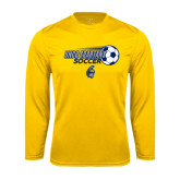 Performance Gold Longsleeve Shirt-Soccer Ball Design