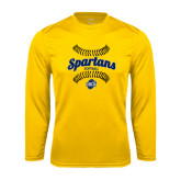 Performance Gold Longsleeve Shirt-Softball Ball Design