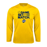 Performance Gold Longsleeve Shirt-Game Set Match - Tennis Design