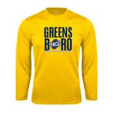 Syntrel Performance Gold Longsleeve Shirt-Greensboro Stacked with Shield