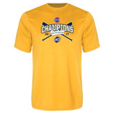 Performance Gold Tee-Baseball SoCon Champions 2017 - Crossed Sticks