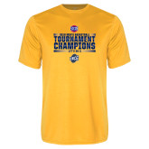 Performance Gold Tee-2018 Mens Basketball Champions - Stacked