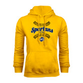 Gold Fleece Hoodie-Softball Ball Design