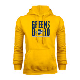 Gold Fleece Hoodie-Greensboro Stacked with Shield