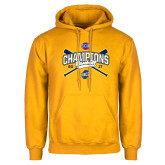 Gold Fleece Hoodie-Baseball SoCon Champions 2017 - Crossed Sticks