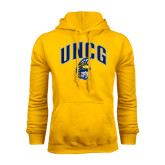 Gold Fleece Hoodie-Arched UNCG w/Spartan