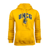 Gold Fleece Hoodie-Arched UNCG w/Spartan Distressed