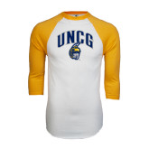 White/Gold Raglan Baseball T-Shirt-Arched UNCG w/Spartan