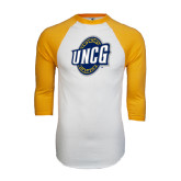 White/Gold Raglan Baseball T-Shirt-UNCG Shield