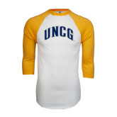 White/Gold Raglan Baseball T-Shirt-Arched UNCG